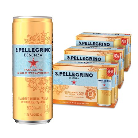- S.Pellegrino Essenza Tangerine & Wild Strawberry Flavored Mineral Water, 11.15 Fl Oz (Case of 24)