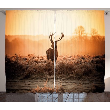 Hunting Decor Curtains 2 Panels Set, Red Deer in the Morning Sun Wild Nature Scenery Countryside Rural Heathers, Window Drapes for Living Room Bedroom, 108W X 84L Inches, Brown Orange, by Ambesonne ()
