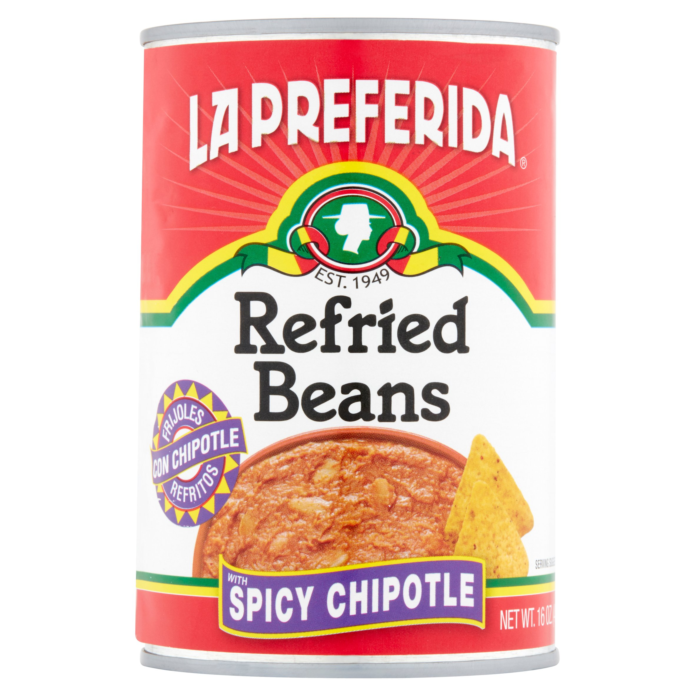 La Preferida Refried Beans with Spicy Chipotle, 16 oz