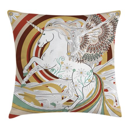 Unicorn Throw Pillow Cushion Cover, Pop Art Culture Graphic of Ancient Unicorn with Angel Wings on Spiral Backdrop Artwork, Decorative Square Accent Pillow Case, 16 X 16 Inches, Multi, by -