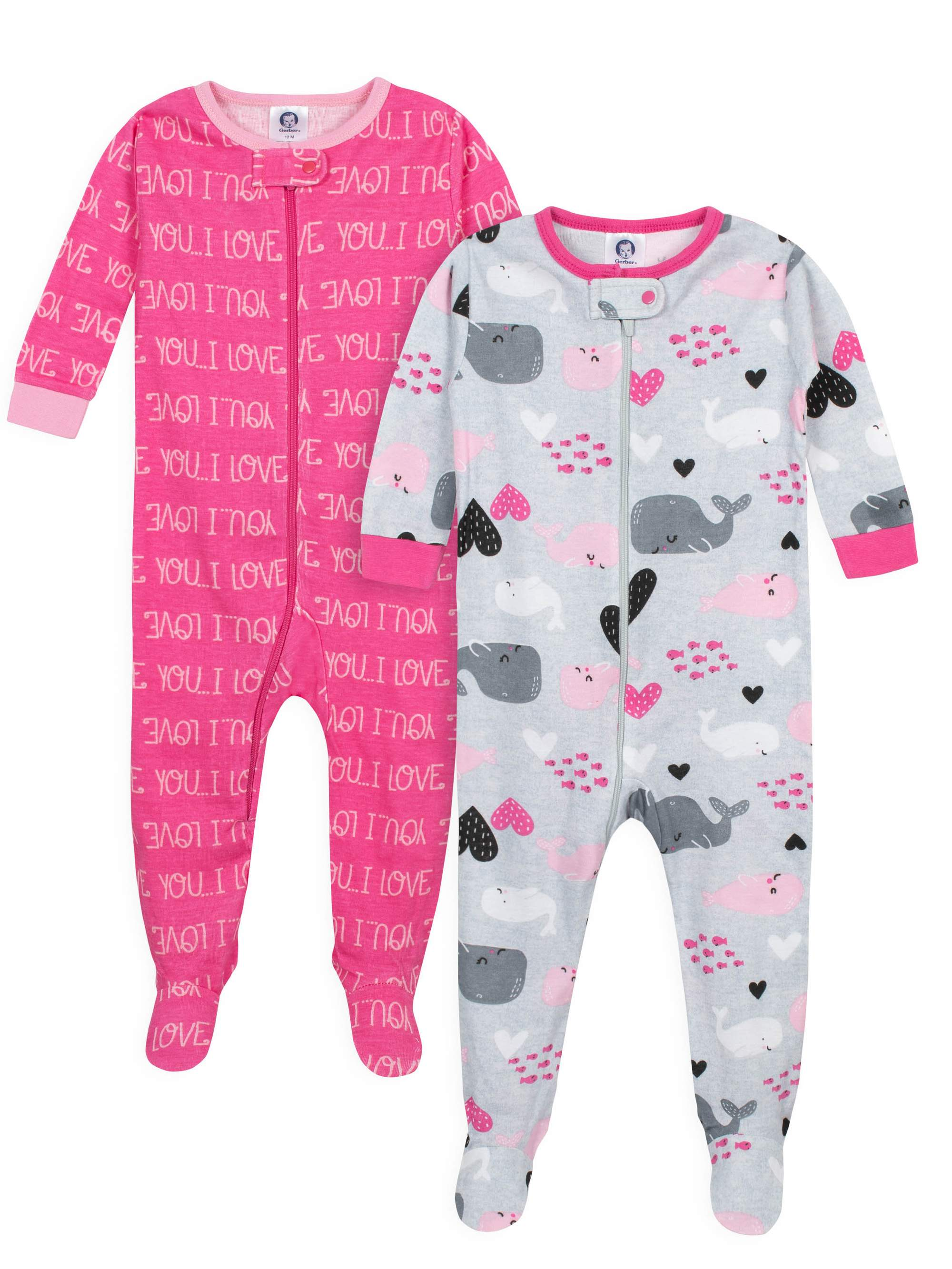 bed323bcf4913 Gerber - Gerber Footed tight-fit unionsuit pajamas, 2pk (baby girls) -  Walmart.com