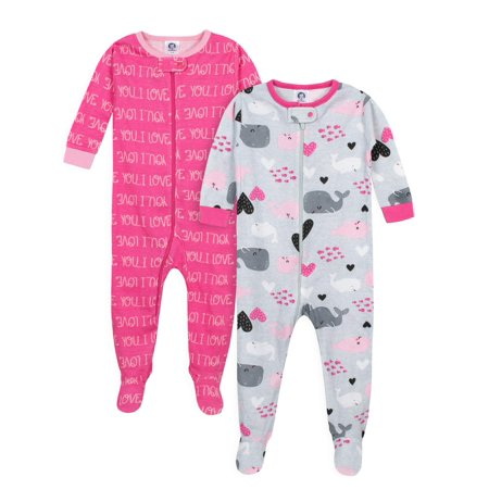 Gerber Footed tight-fit unionsuit pajamas, 2pk (baby girls)](Christmas Pajamas Baby)
