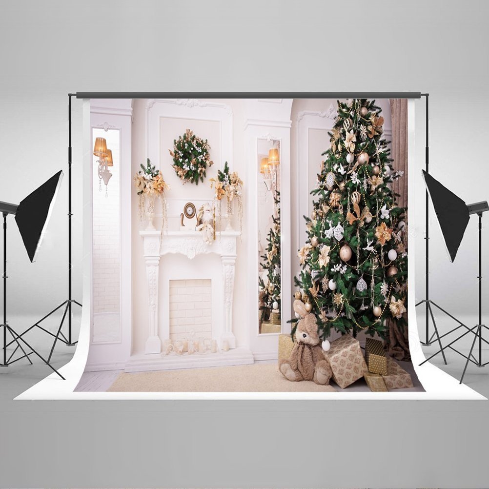 HelloDecor Polyster Christmas Photography Backdrops, 7x5ft Indoor Decoration Christmas Tree Photo Backdrop Background for Photographers