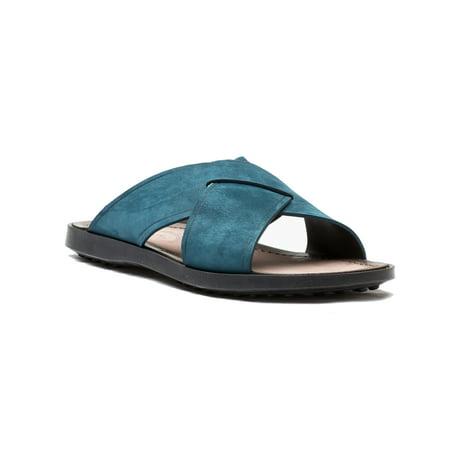 Tod's Men's Suede Ciabatta Sottopiede Cuoio Fondo Nu Sandal Shoes Dark Teal ()