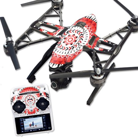 Skin Decal Wrap for Yuneec Q500 & Q500+ Quadcopter Drone Red Aztec