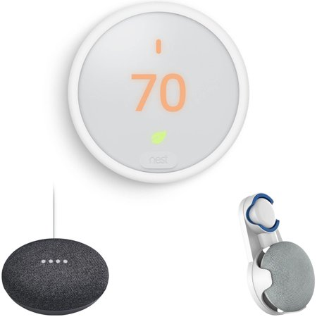 nest learning thermostat e t4000es with google home mini home smart speaker with google. Black Bedroom Furniture Sets. Home Design Ideas