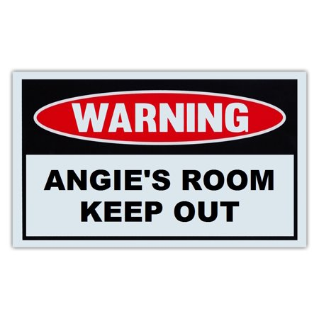 Novelty Warning Sign  Angies Room Keep Out   For Boys  Girls  Kids  Children   Post On Bedroom Door   10  X 6  Plastic Sign