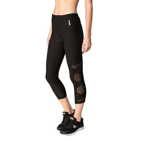 cb394370a7922 RBX - RBX Active Women's Capri Legging with Mesh Inserts and X Straps -  Walmart.com