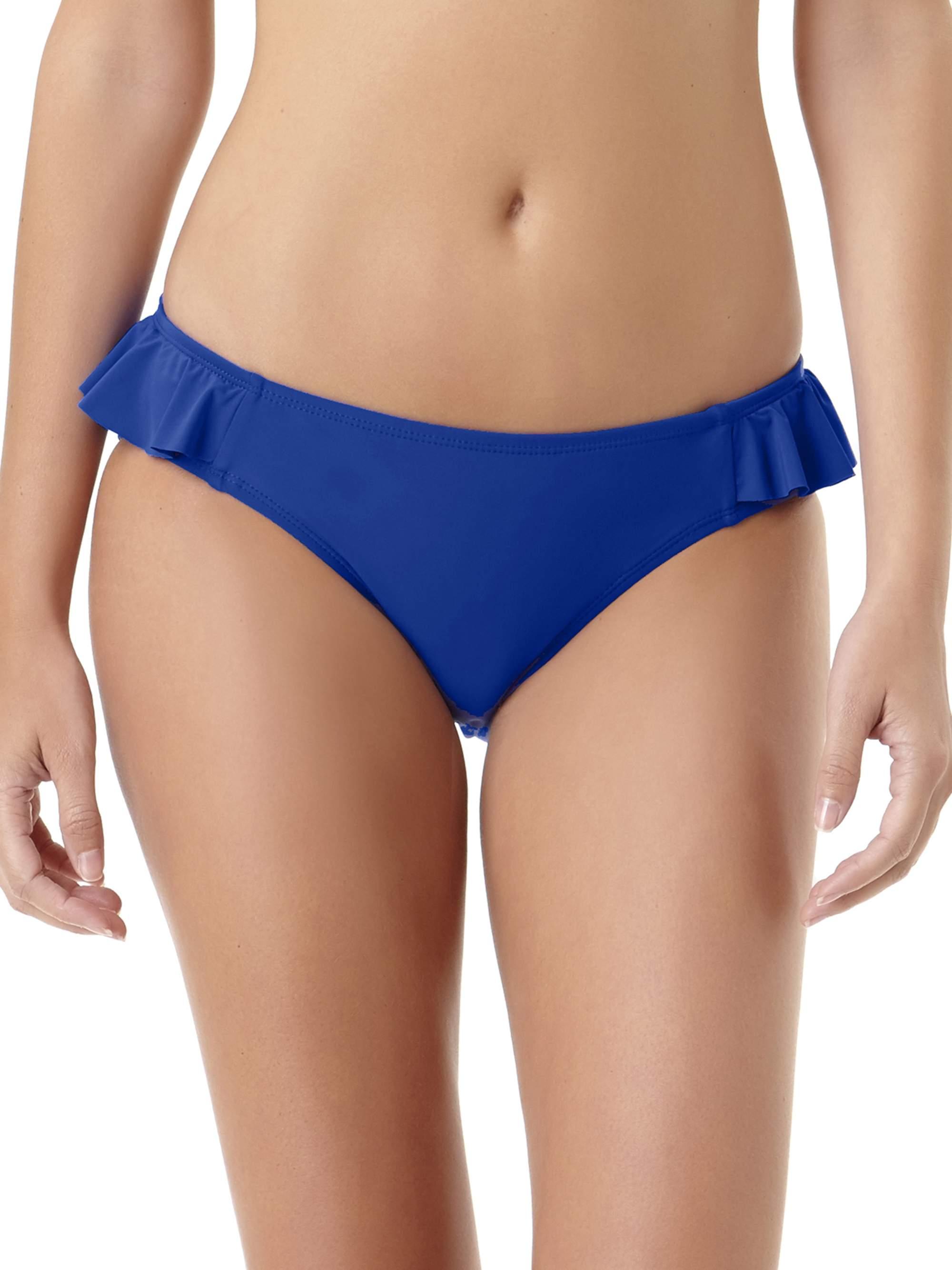 Juniors' Solid Ruffle Scoop Bikini Bottom