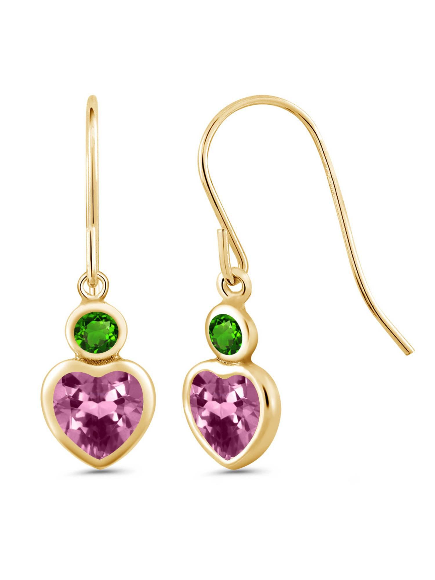 1.16 Ct Pink Tourmaline Green Simulated Tsavorite 14K Yellow Gold Earrings by
