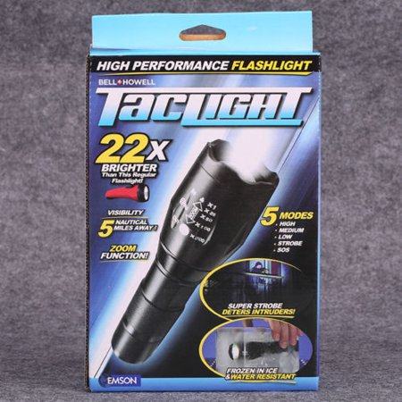 as seen on tv taclight flashlight 22x brighter 5 modes zoom function. Black Bedroom Furniture Sets. Home Design Ideas