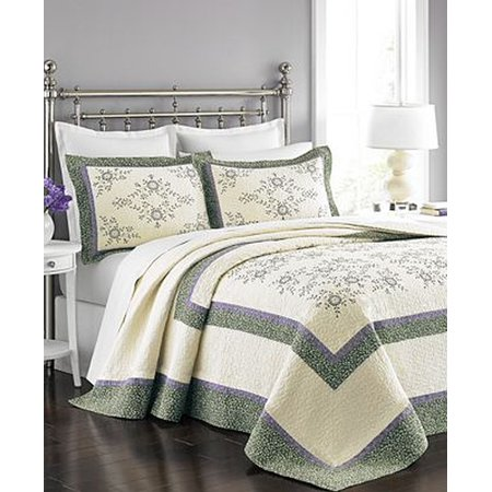 Martha Stewart Collection Valencia Eyelet Bedspread Ivory/Purple Full ()