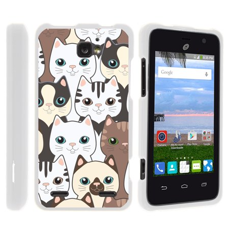 ZTE Paragon Z753G, ZTE Zephyr Z752C, ZTE Sonata 2, [SNAP SHELL][White] Hard White Plastic Case with Non Slip Matte Coating with Custom Designs - Cute Kittens