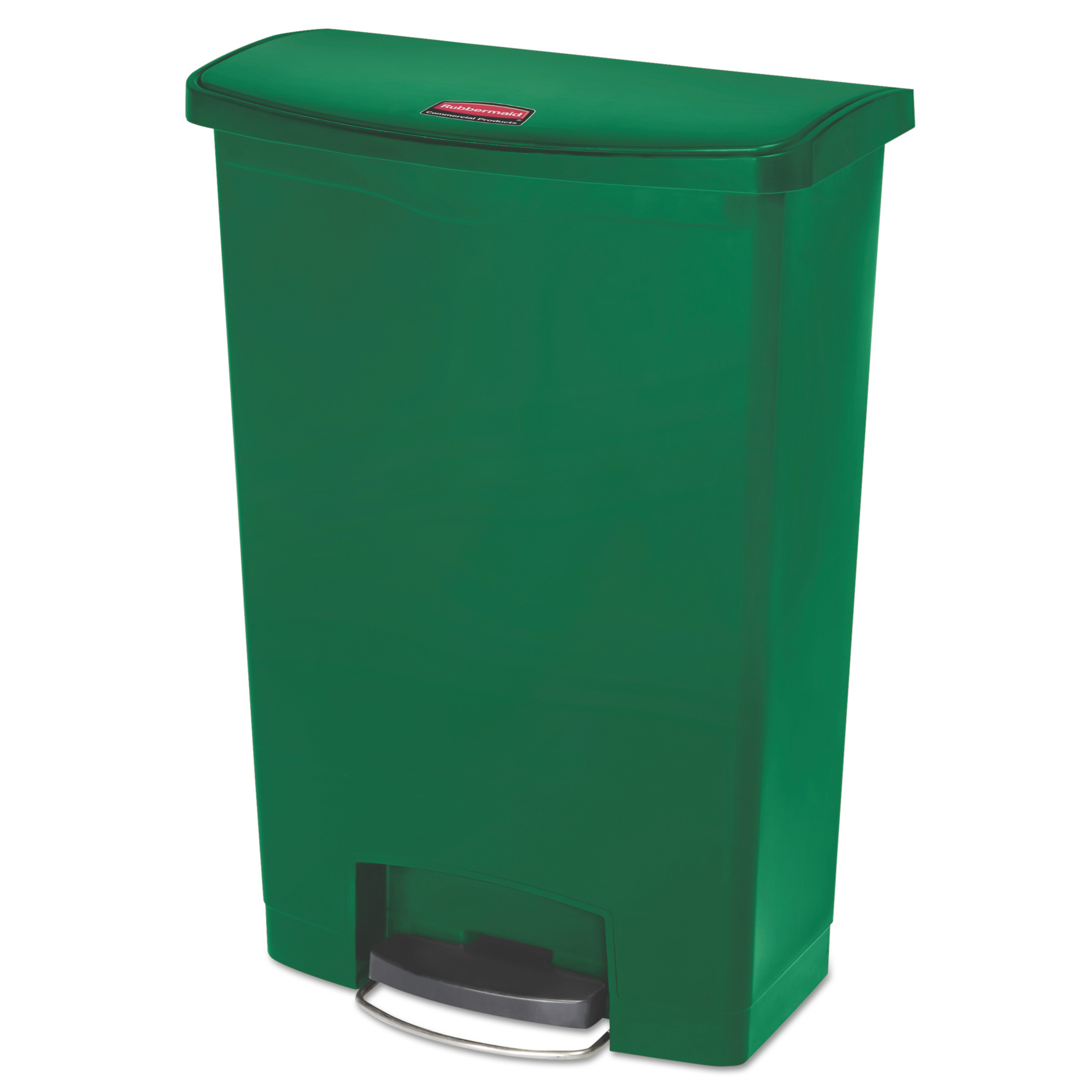 Rubbermaid Commercial Slim Jim Resin Step-On Container, Front Step Style, 24 gal, Green