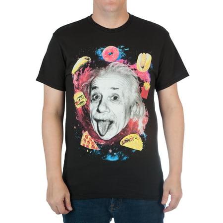 Albert Einstein with Food in Space Men's Cotton Graphic T-shirt (Albert Einstein Mustache)