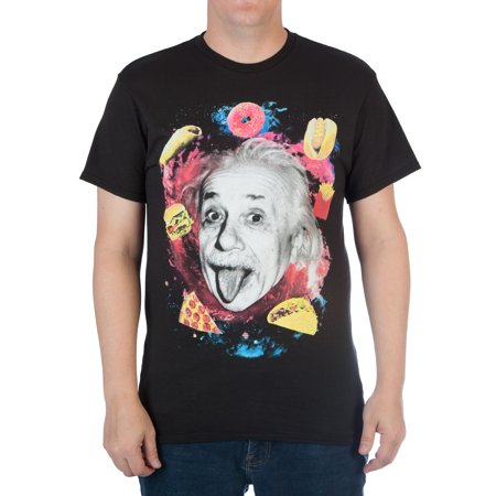 Image of Men's Albert Einstein and Food in Space Cotton Graphic Tee