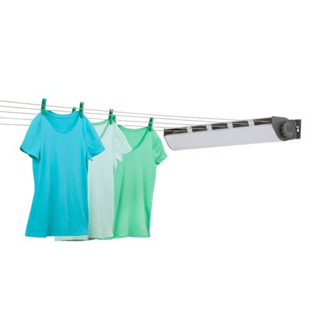 Outdoor Clothes Dryer (Honey Can Do Retractable Clothesline Dryer with 5 Lines, (Gray/White))