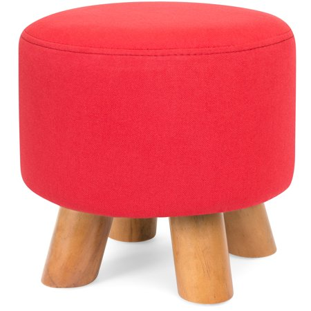 Best Choice Products Upholstered Padded Pouf Ottoman Footrest Stool w/ Removable Linen Cover, Non-Skid Legs - Red ()