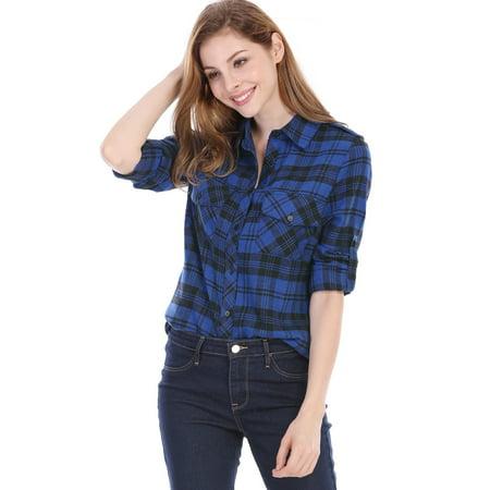 Women Checks Roll Up Sleeves Flap Pockets Flannel Plaid Shirt Blue XL (US 18)