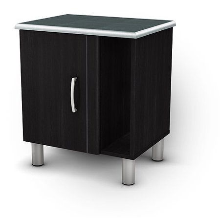 South Shore Cosmos Nightstand with Magazine Storage, Charcoal and Black - Cosmos Black Onyx