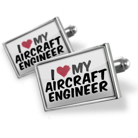 Cufflinks I Heart Love My Aircraft Engineer   Neonblond