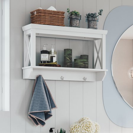 RiverRidge X- Frame Bath Collection - Wall Shelf with Hooks - White ()