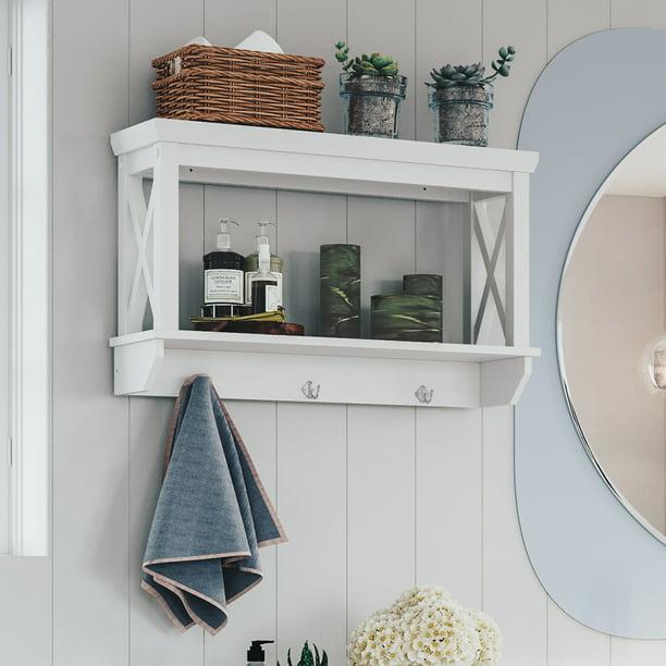 Riverridge X Frame Bath Collection Wall Shelf With Hooks White Walmart Com Walmart Com