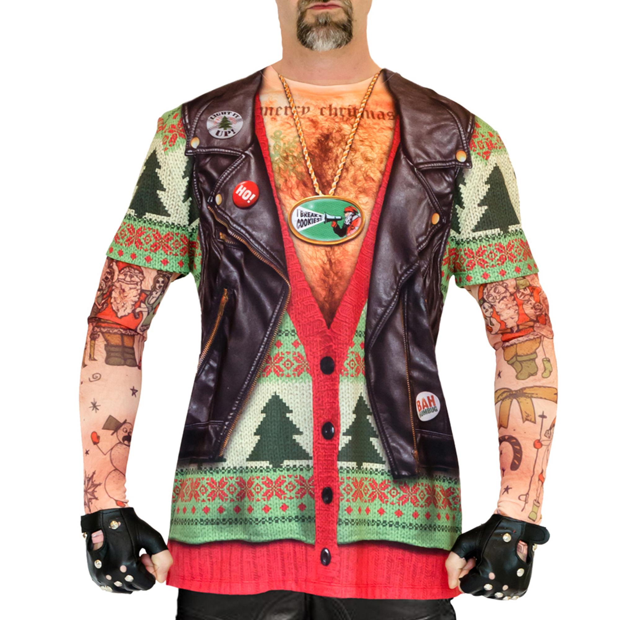 Xmas Biker Sweater with Tattoo Mesh Men's Long Sleeve Tee Shirt