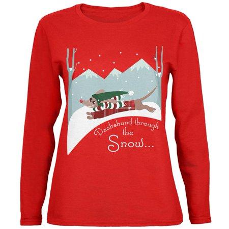 - Christmas Dachshund Dashing Through the Snow Womens Long Sleeve T Shirt