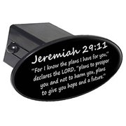 "Jeremiah 29-11, Christian Bible Verse 2"" Oval Tow Trailer Hitch Cover Plug Insert"