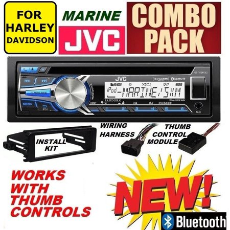 FOR 1996-2013 HARLEY TOURING MARINE JVC KD-R97MBS BLUETOOTH USB STEREO PACKAGE