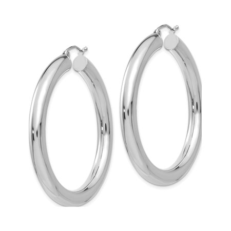 Boucles d'oreilles en or blanc 14K blanc poli de 5 mm (Lightweight Hoop de 5x45 mm) - image 2 de 3