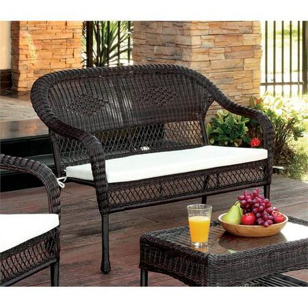 Furniture Of America Levi Patio Wicker Loveseat In Brown