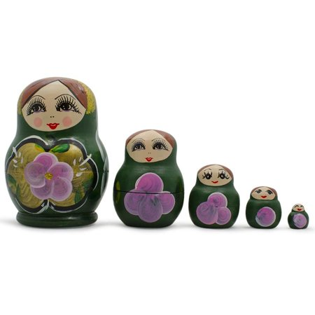 Cabbage Rose 3 Light (Set of Green Dress Russian Wooden Nested Dolls 3.5 Inches)