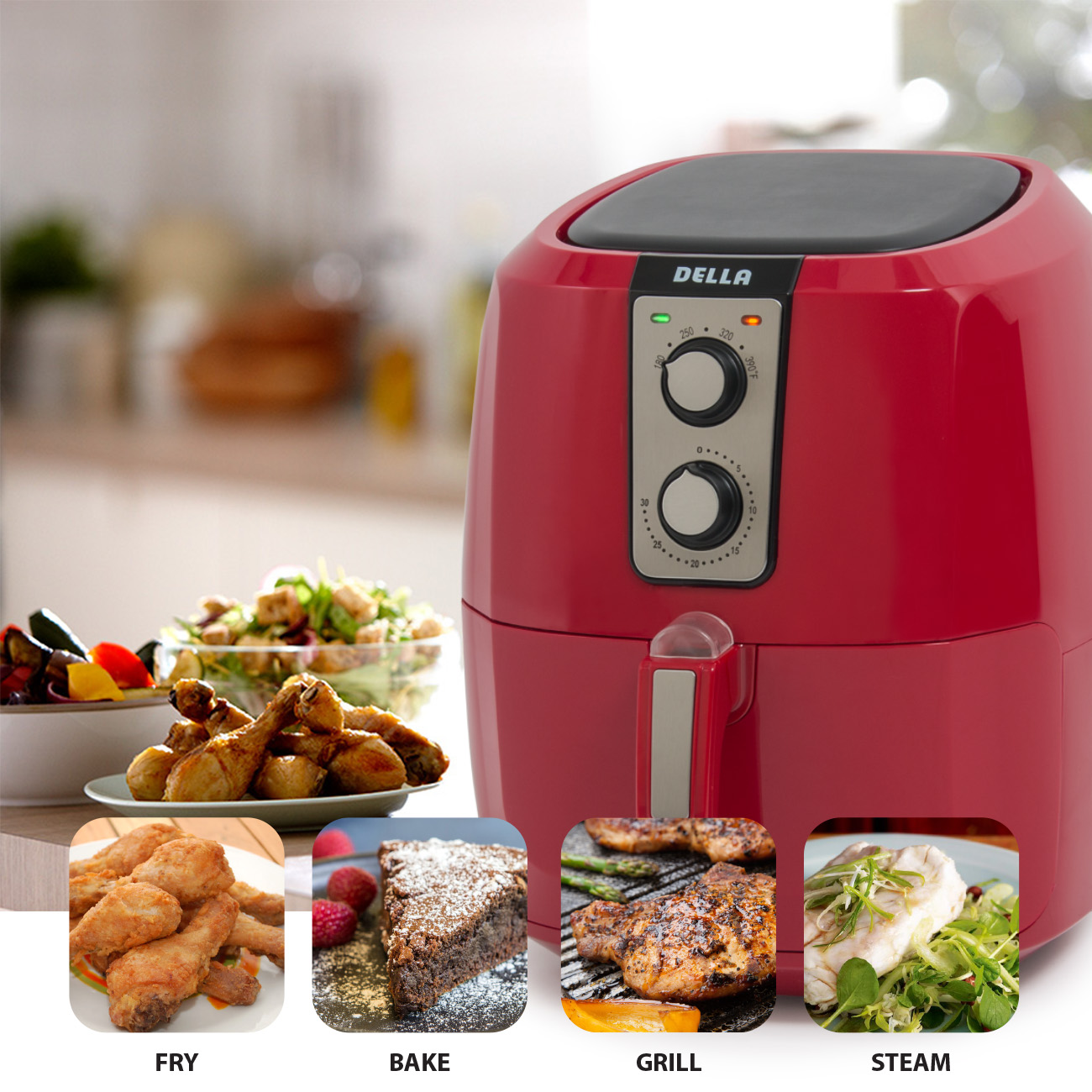 Della 5.8 QT Electric Multipurpose Classic Rapid Air Fryer Dual Dial Temperature and Timer Controls, 1800W, White