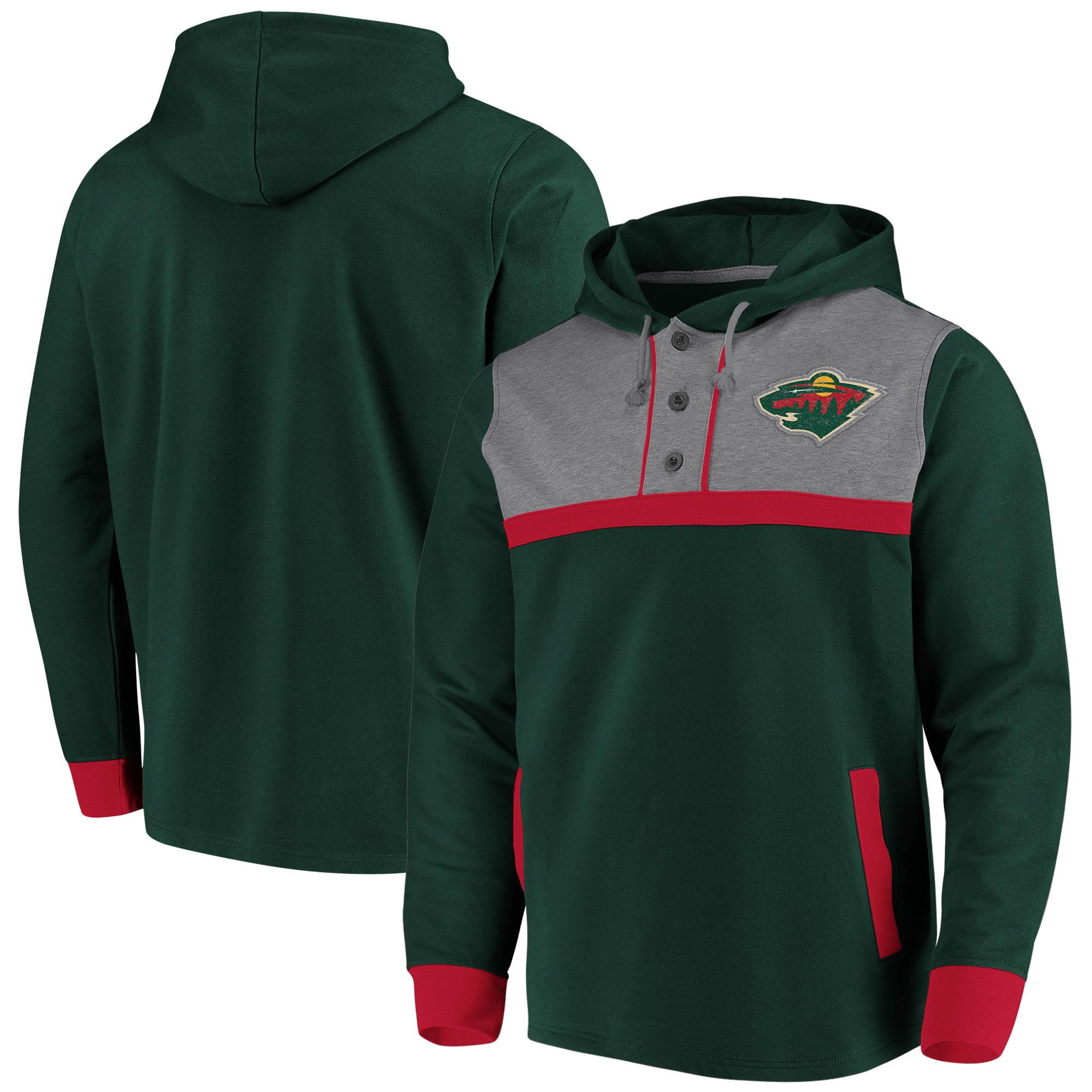 Minnesota Wild Fanatics Branded True Classics 3-Button Pullover Hoodie - Green/Heathered Gray