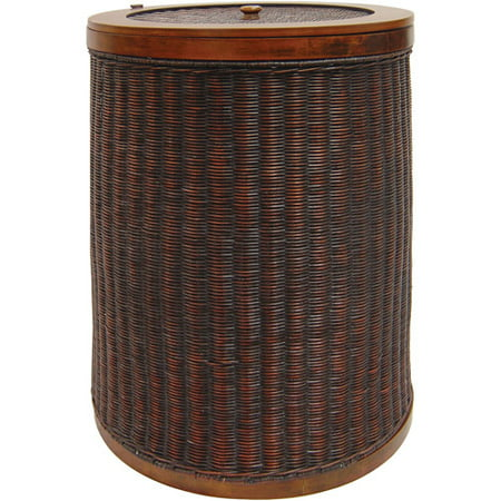 Round Wicker Hamper With Liner Dark Bro