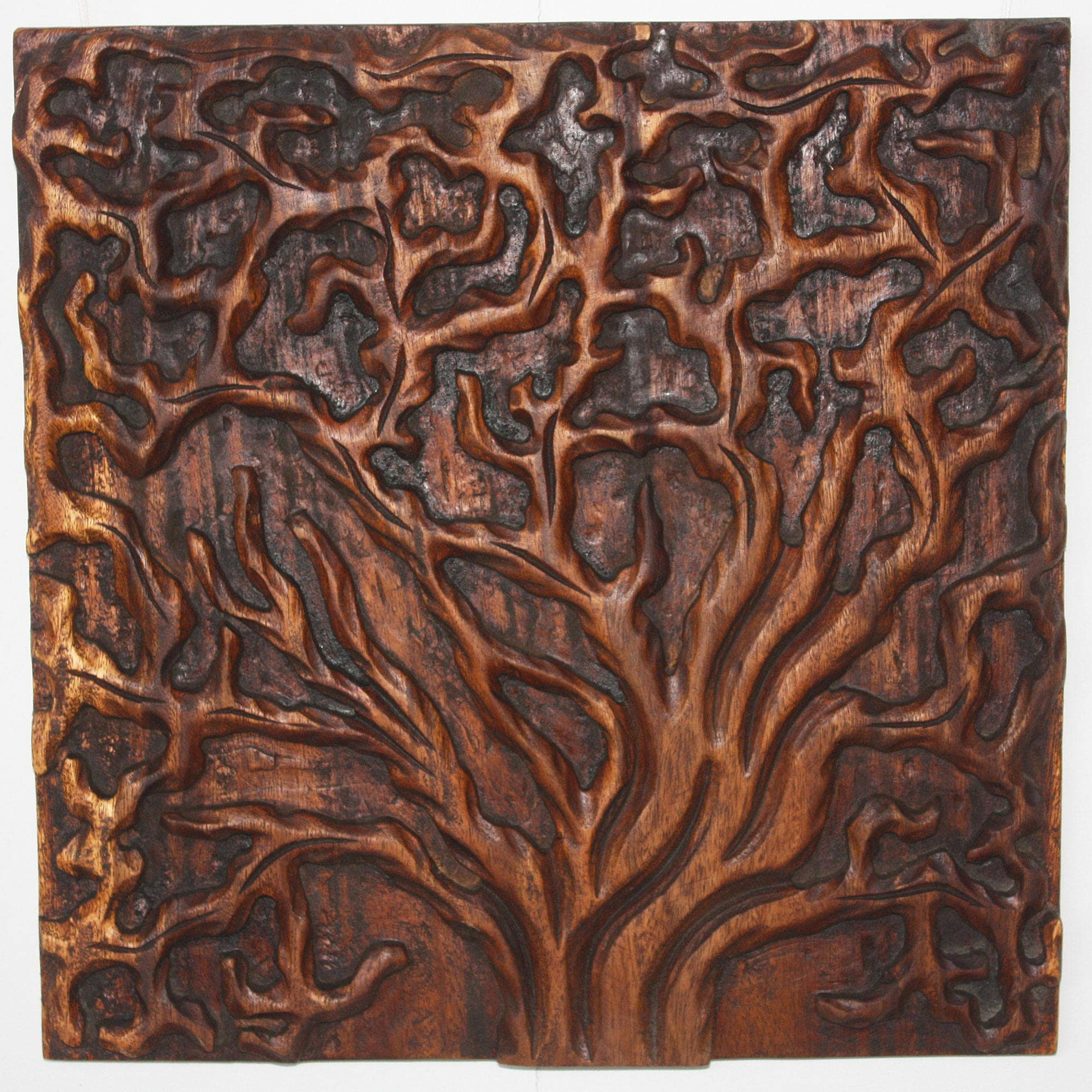 Haussmann Handmade 'Tree Life' 18 x 18-inch 3-piece Natural Golden Oak Oil Solid Wall Panels (Thailand)