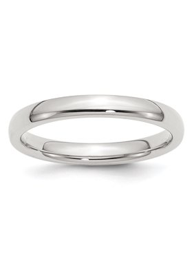 Solid Polished Engravable 3mm Comfort Fit Band Ring - Ring Size: 4 to 13.5