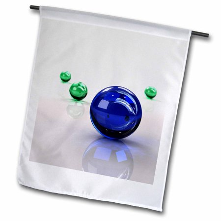 Image of 3dRose Abstract glass marbles print in blue and green with reflections - Garden Flag, 12 by 18-inch