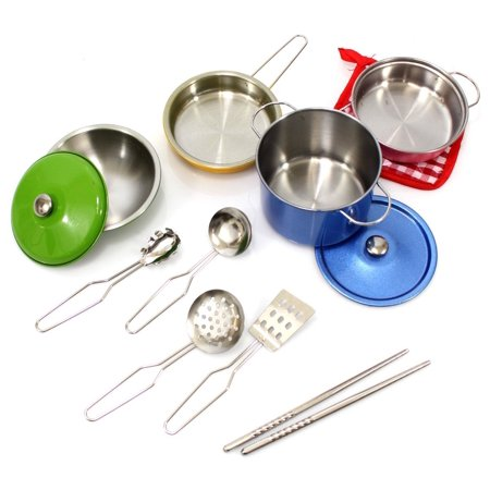 Colorful Metal Pots and Pans Cookware with Utensils Playset for Kids, Toy Cookware, Fun Cookware Set, Kitchen Set Accessories, Toy Kitchen Set, For Fun Pretend Play For Kids / Children (Children Play Cookware)