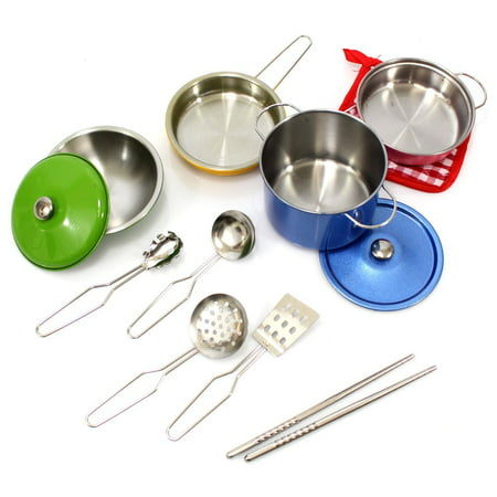 Colorful Metal Pots and Pans Cookware with Utensils Playset for Kids, Toy Cookware, Fun Cookware Set, Kitchen Set Accessories, Toy Kitchen Set, For Fun Pretend Play For Kids / Children - Kids Pots Pans