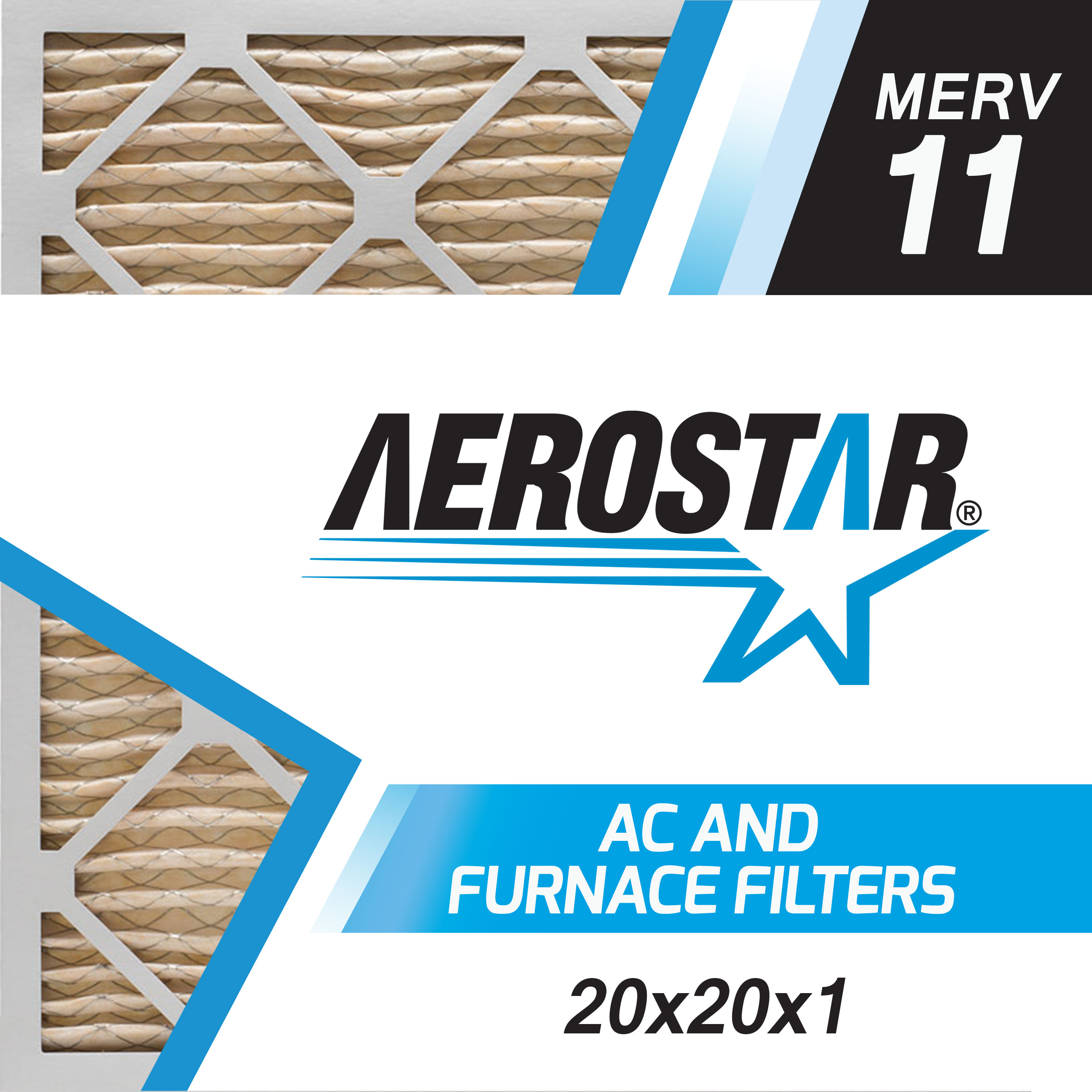 20x20x1 ac and furnace air filter by aerostar merv 11 box of 6 - Air Filters Delivered