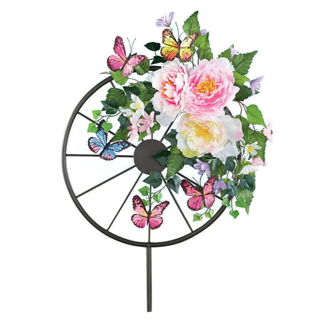 Stake Wagon (Floral Wagon Wheel Garden Stake with Butterflies, Colorful Outdoor Decorative Accent)