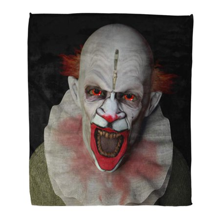 Super Scary Clown (ASHLEIGH 58x80 inch Super Soft Throw Blanket Monster Scary Clown Glaring at You Red Eyes Halloween Home Decorative Flannel Velvet Plush)