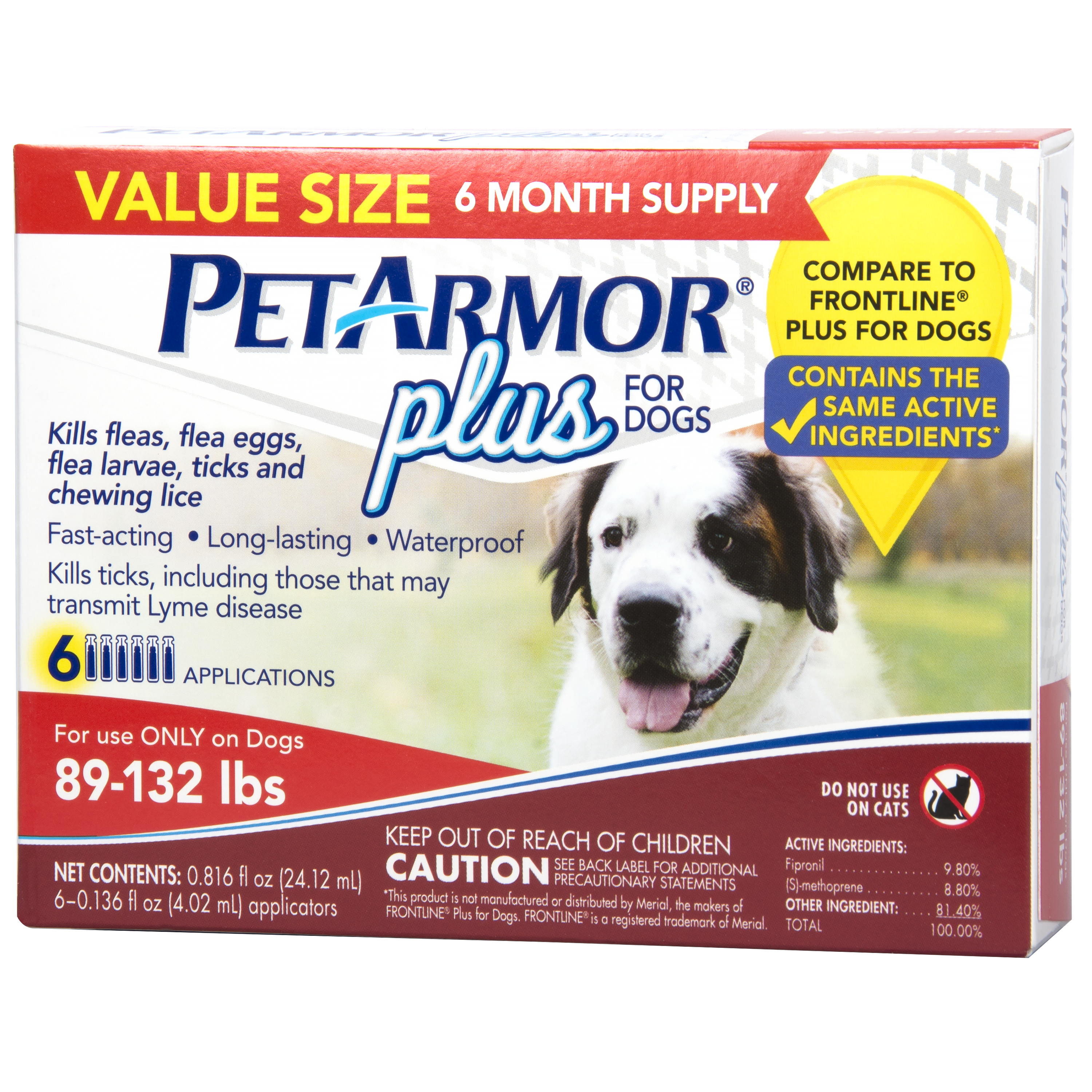 PetArmor Plus Flea & Tick Prevention for Extra Large Dogs with Fipronil (89 to 132 Pounds), 6 Monthly Treatments