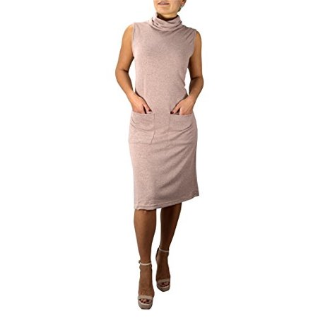 Peach Couture Cowl Neck Sleeveless Sweater Dress with Pockets Blush Large - image 1 of 1