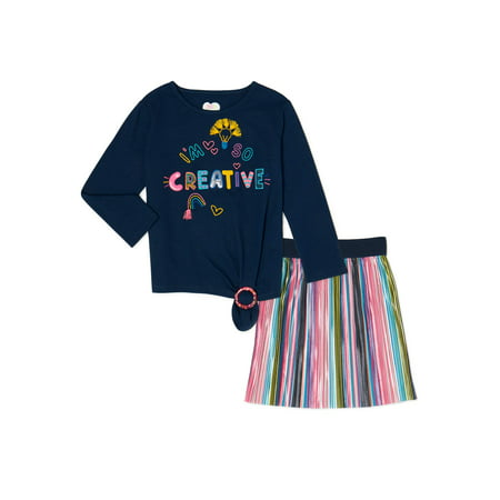 365 Kids From Garanimals Girls Side-Tie Graphic Long Sleeve T-Shirt and Rainbow Skirt, 2-Piece Outfit Set, Sizes 4-10