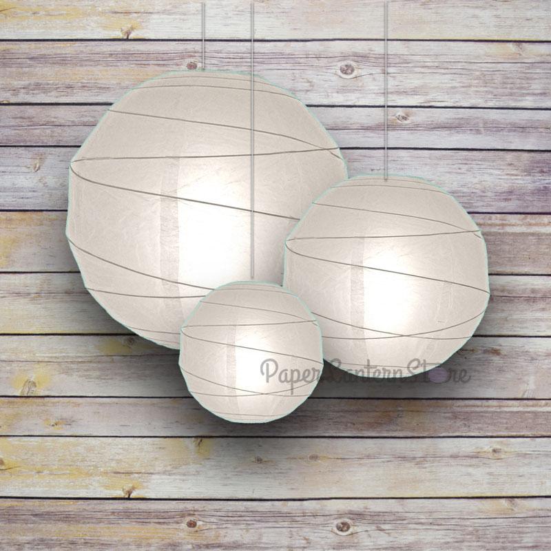 "Quasimoon 8/12/16"" White Round Paper Lanterns, Irregular Ribbing (3-Pack Cluster) by PaperLanternStore"