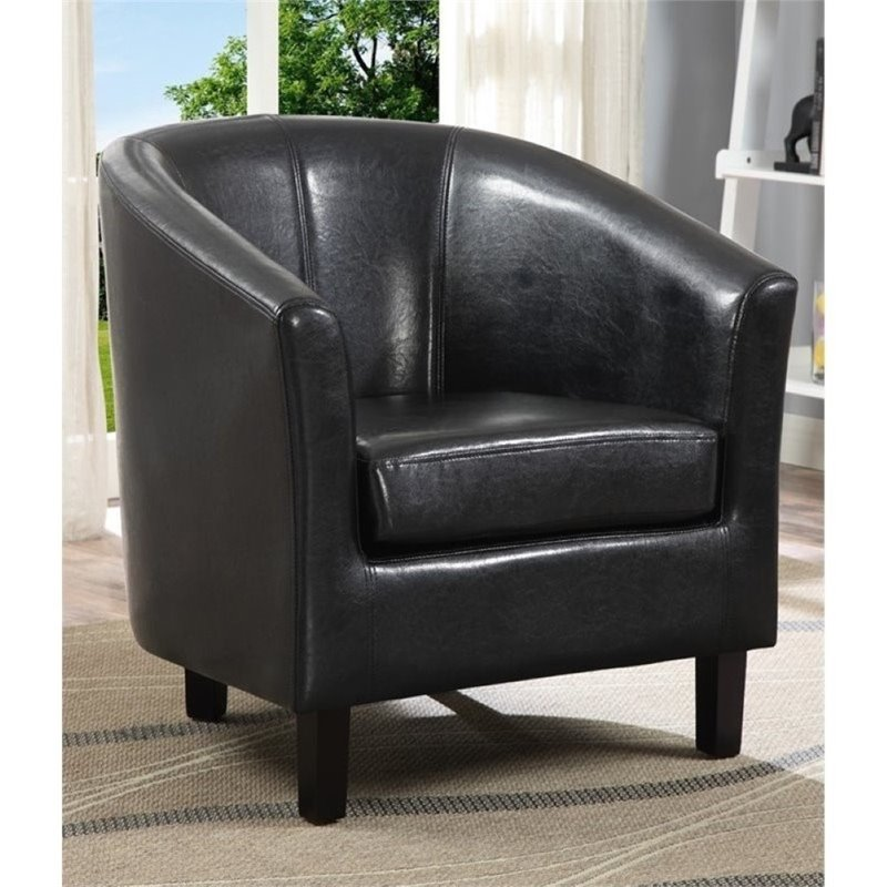 Atlin Designs Faux Leather Tub Chair in Black